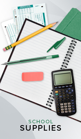 Picture of a Scantron, pencil, pen, eraser, calculator, and notebook. Click to shop School Supplies.